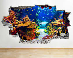 A163 Aquarium Fish Ocean Sea Coral Wall Decal Poster 3d Art Stickers Vinyl Room