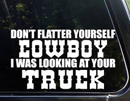 Don T Flatter Yourself Cowboy I Was Looking At Your Truck 8 3 4 X 5 Die Cut Decal Bumper Sticker For Windows Cars Trucks Stickers Aliexpress