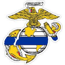Thin Blue Line United States Marine Corp Sticker At Sticker Shoppe