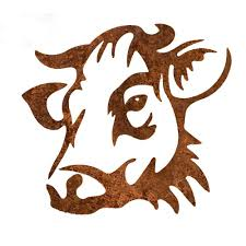 10 In Tall Steel Metal Rustic Rust Cow Face Wall Art Brownish Red Cd303 The Home Depot
