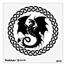 Celtic Circle Dragon Black White Wall Decal Zazzle Com
