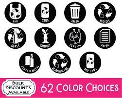 Trash Can Decals Recycle Decals Vinyl Decals Recycle Etsy