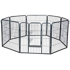 Heavy Duty Portable Folding Metal Animal Cage Corral Tall Fences Tube Gate W Door Pet Dogs Cats Outdoor Exercise Pens Wire Pen Dog Fence Playpen 8 Panel 30 Square Feet Play Yard