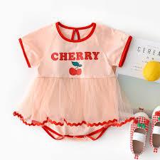 Đầm xòe romper ngắn tay in họa tiết quả cherry xinh xắn thời trang ...
