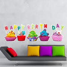 Shop Full Color Happy Birthday Cupcakes Celebration Full Color Wall Decal Sticker Sticker Decal Size 48x76 Frst On Sale Overstock 15196299