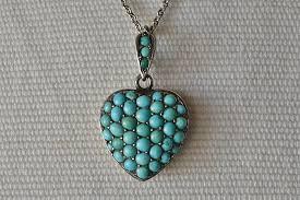 turquoise heart locket pendant necklace