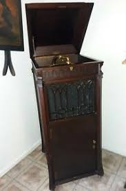 crank phonograph record player cabinet