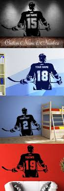 Hockey Player Wall Art Decal Sticker Choose Name Number Personalized Home Decor New Decorating Ideas
