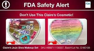 jojo siwa makeup recall alert claire s