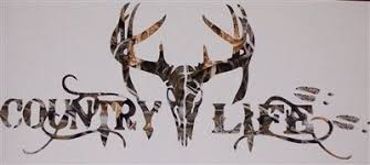 Country Life Deer Head Many Camo Colors Window Decal Hunting Decal Deer Skulls Truck Stickers