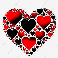 قلوب سوداء و حمراء هابي فالنتاين عيد حب سعيد القلب Png وملف Psd