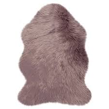 fluffy faux fur sheepskin rugs in mauve