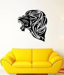Amazon Com Wall Decal Ferocious Lion Roar Mane Mouth Fangs Head Cat Vinyl Stickers Vs236 Kitchen Dining