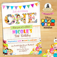 Tsum Tsum Invitation 1st Birthday Invitation Any Age Invitat