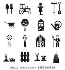 Farm Set Of Vector Icons With Fill On White Background Agriculture Background Barn Black Cart Collection Co Malevich White Background Vector Icons
