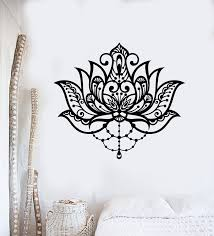 Vinyl Wall Decal Flower Ornament Lotus Meditation Yoga Studio Stickers Wallstickers4you