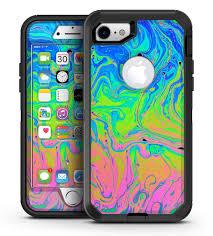 Neon Color Swirls Iphone 7 Or 7 Plus Otterbox Defender Case Skin Dec Designskinz