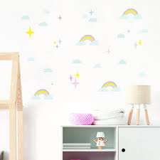 Pastel Rainbows With Clouds And Stars Wall Decals Eco Etsy