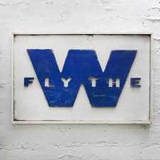 Fly The W Wooden Flag Chicago Cubs Art W Flag Cubs Wall Decor Etsy