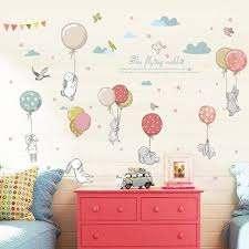 Cartoon Clouds Diy Mural Cute Balloon Rabbit Bunny Wall Sticker Kid Room Decor Nursery Wall Stickers Living Room Decals