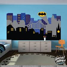 Superhero City Skyline Wall Decal Nursery Wall Decals Large Etsy