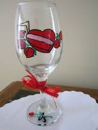 hand painted wine glass box of candy
