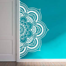 Amazon Com Wall Decal Half Mandala Headboard Wall Sticker Yoga Boho Indian Om Mandala Flower Wall Sticker Art Living Room Interior Bed Decor Sticker Mural Y022 57x109cm White Home Kitchen