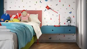 Colorful Kids Bedroom With Side Table Homemydesign