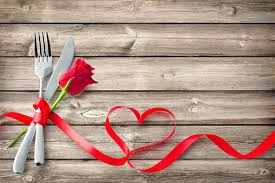 Silverware Tied Up With Red Ribbon In Heart Shape On Wooden Planks Stock Photo Download Image Now Istock
