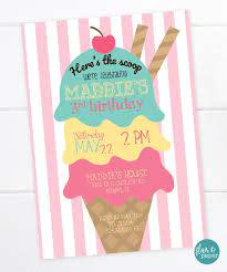 Ice Cream Birthday Invitation Ice Cream Party Dessert Birthday