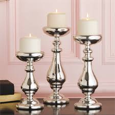 silver mercury pillar candle holders