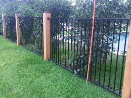 Pool Fence Idea Wooden Posts And Standard Fencing Backyard Fences Fence Landscaping Modern Landscaping