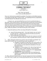 lesson eternal security kjv bible study