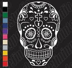 Sugar Skull Day Of Dead Cross Heart Vinyl Decal Sticker Car Laptop Window Ebay