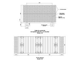 Gate With Fence Elevation And Section Cad Drawing Details Dwg File Cadbull