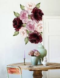 Watercolor Red Pink Peony Floral Wall Decal Sticker In 2020 Floral Wall Wall Decals Floral Wall Decals