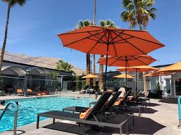 View From Inside Pool Area Loungers Umbrellas Glass Fence Pool Picture Of The Palm Springs Hotel Tripadvisor