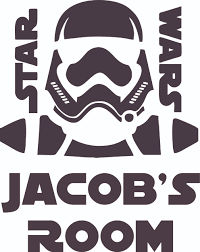 Storm Trooper Head Star Wars Cartoon Character Customized Wall Decal Custom Vinyl Wall Art Personalized Name Baby Girls Boys Kids Bedroom Decal Room Wall Art Sticker Decoration Size 30x27