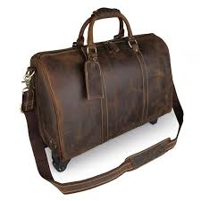 mens leather travel duffel bag brown