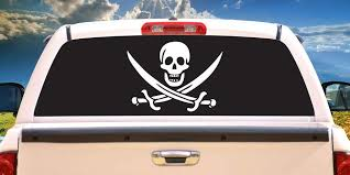 Amazon Com Signmission Pirate Rear Window Graphic Decal Jolly Roger Skull View Thru Vinyl Home Kitchen