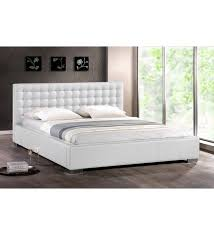 madison white faux leather platform bed