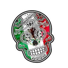 13cm X 10 7cm Mexican Day Of The Dead Sugar Skull With Mexico Mexican Flag Motif External Vinyl Car Stickers Wish