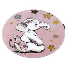 Modern Kids Room Rug Elephant Petit Circle Pink Cheap Best Carpets For Children Ebay