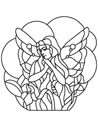 stained glass outline fairy clip art