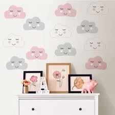 Wall Pops Pink Head In The Clouds Wall Decal Dwpk2707 The Home Depot