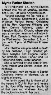 Myrtle Parker Shelton - obituary - Newspapers.com
