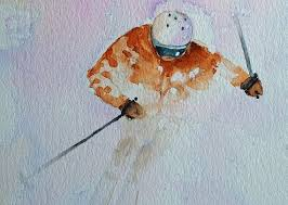 skier watercolor print ski snow art