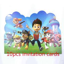 10 Unids Tarjeta Dibujos Animados Perro Tema Invitacion Tarjetas