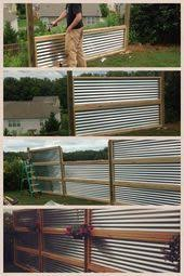 Privacy Screen Made From Sheets Of Galvanized Corrugated Metal Backyard Fences Privacy Fence Designs Privacy Screen Outdoor