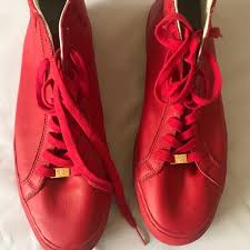shoes sneakers soft leather red size
